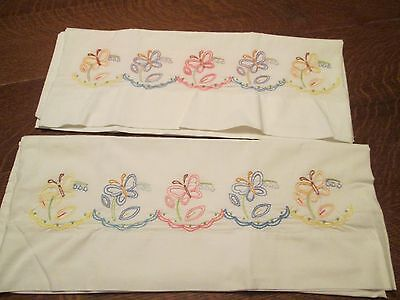 (M) New Vintage Hand Embroidered Pillowcases, 32 x 20.5