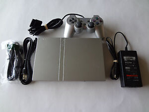 Sony PlayStation 2 Slim Satin Silver Console System Complete Tested PS2