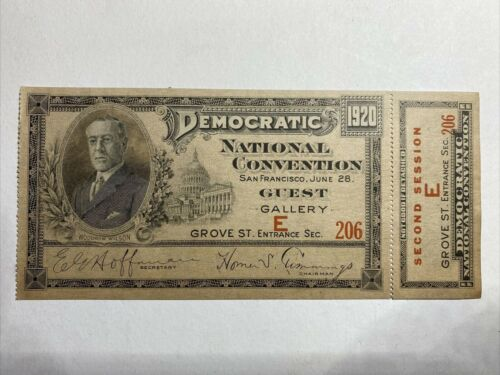 1920 Democratic National Convention San Francisco, CA Ticket 2nd-Session MINT