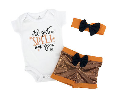 Baby Girls  My 1st Halloween Layette Set Outfit Boutique Infant Newborn Clothes