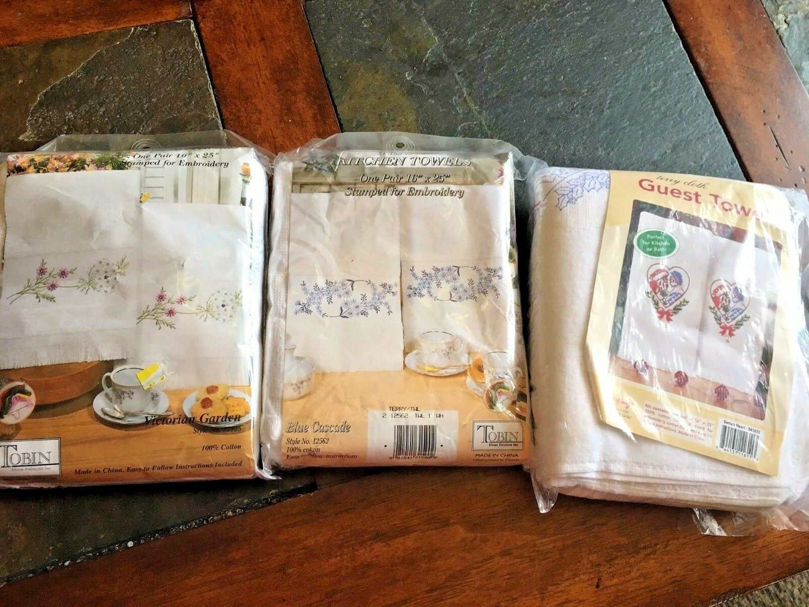 Terry Cloth guest / kitchen towels cross stitch kits - some