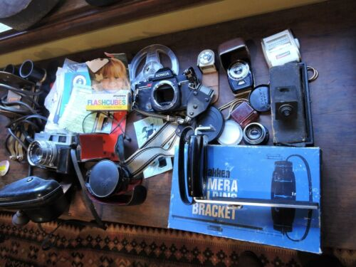 Large lot Vintage Film Cameras and Accessories  Canon Konica Kodak etc