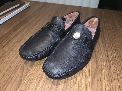 VERSACE COLLECTION Medusa Navy Textured  Leather Loafers Shoes EU 42 US 10