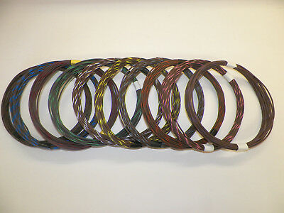 Striped Brown Color - BROWN hi temp automotive 18 gauge GXL wire + 10 STRIPED color wiring options