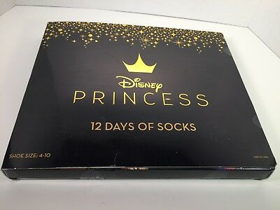 DISNEY Princess 12 Days of Socks Advent Calendar - Kids Shoe Size 4-10