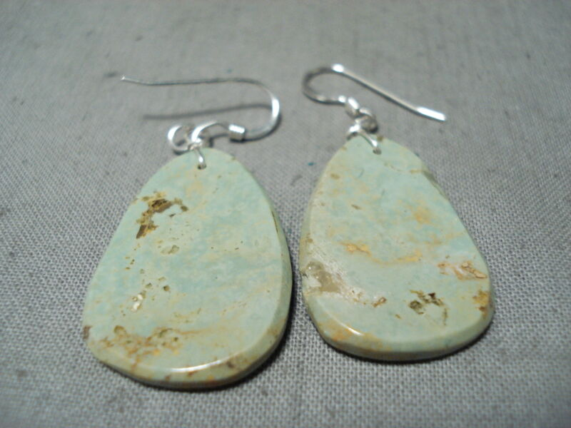 REMARKABLE SANTO DOMINGO ROYSTON TURQUOISE SLAB STERLING SILVER EARRINGS