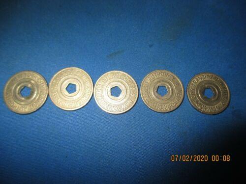 Lot of 5 New York City PENTAGON Subway Tokens 1996-2003