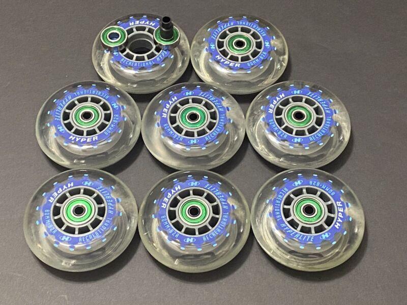 "Hyper ""Hyperlite"" Recreational Inline Wheels w/ Bearings & Spacers NEW 80mm/84a"