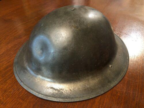 WW1 US Army M1917 Brodie Doughboy Combat Helmet Marked ZE 35 UNPAINTED STEEL