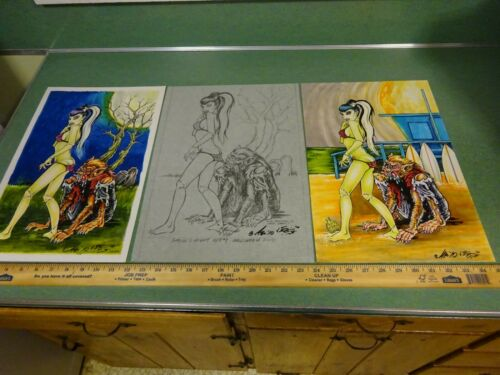 """3 PIECES""""GHOULS NIGHT OUT"""" 1 OF KIND ORIGINAL ART BY JOHNNY ACE RAT FINK ED ROTH"""