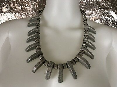 Women's Vintage 1980's Gray Stone Claw Beaded Necklace, Fashion Jewelry