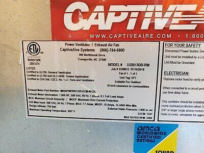 Captive Aire Power Ventilator Exhaust Fan Usbl13dd-rm Commercial Hood