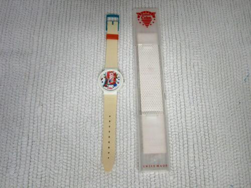 Retro Quartz Swiss Made Coke Coca Cola Wristwatch w/Original Band & Case-WORKS!!