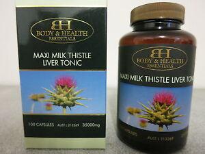 Body & Health Maxi Milk Thistle 35000mg Liver Detox 100 Capsules