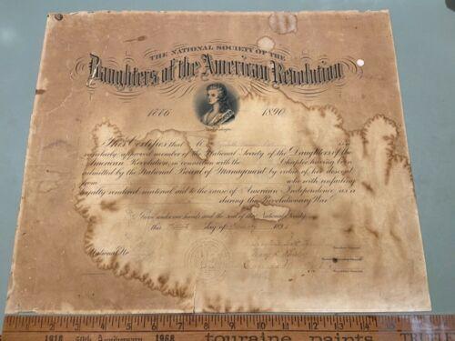 1892 DAR signed President Mrs Harrison 1st lady & Eugenia Washington certificate