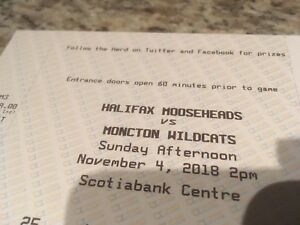 Two lower bowl tickets Mooseheads vs Moncton Sunday Nov 4th