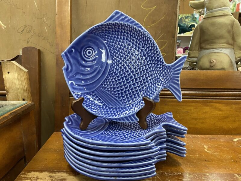Bordello Pinheiro Fish Plates Blue Set Of 9