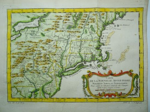 Antique map of New England and New York by Nicolas Bellin 1757