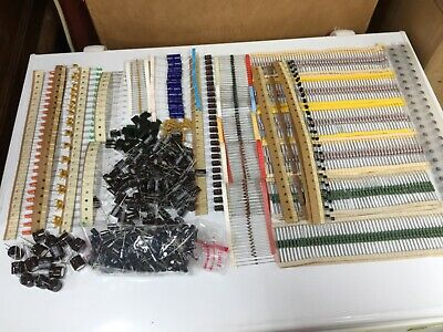 Huge Lot Of Electronic Components - Resistors Caps Diodes More - 1500 Pieces