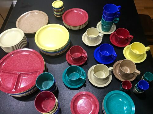 VTG Devine Foods Melamine Tableware - Huge Bright Lot - 90 pcs. Retro Cool!!!