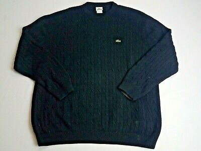 Lacoste Men's Cable Knit Crew Neck Sweater Black Size 8 (XXL)
