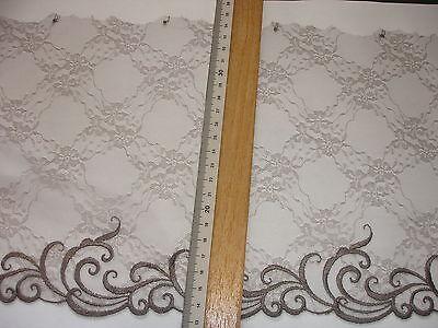 14m Spitze 0,95€/m taupe 21cm breit feine Stickereispitze MB101.1