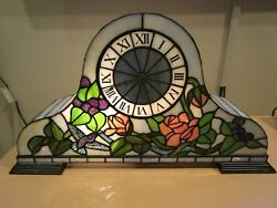 SLAG TABLE CLOCK ELECTRICAL LIGHTED BATTERY CLOCK PANELED HAND MADE HORIZONTAL