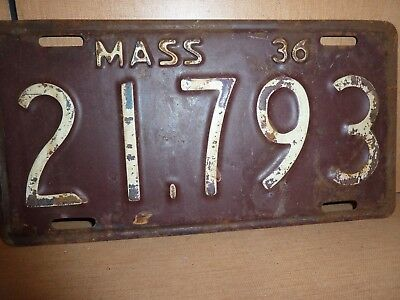 1936 Vintage Massachusetts License Plate Low Number 21793