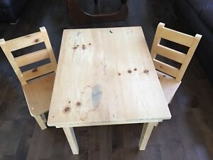 Child's wood table and chairs