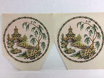 Ceramic decals watermount oriental pagoda garden design lot of 12 Garden Design Decal