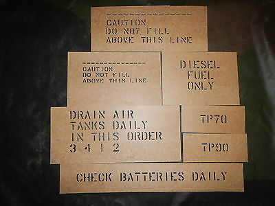 Used, m923 Oilboard Stencil Set m931 m931a1 m925 m923a1 m923a2 m939 Military Truck  for sale  Colchester