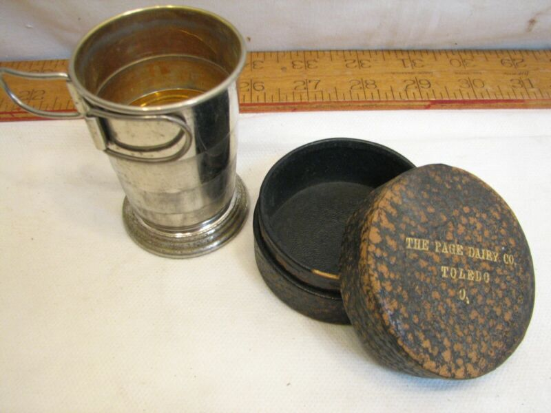 Page Dairy Advertising Victorian Toledo OH Travel Cup Collapsible Alligator Box