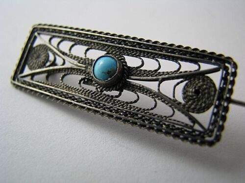 STERLING SILVER BROOCH PIN TURQUOISE FILIGREE Middle East Palestine ca1920s-40s.
