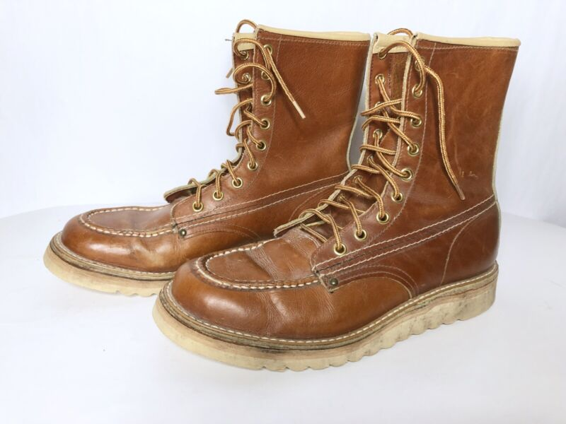 Vtg Work Boots Red Wing Style Biltrite Nuron Crepe Leather USA Made Hiking 5