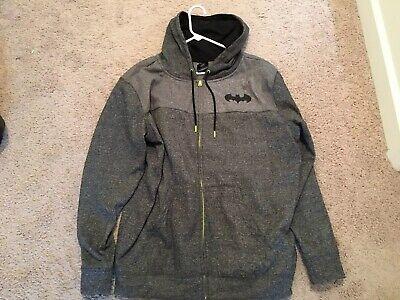 Adult Batman Hoodie (Adult Batman Grey/Neon Full Zip Hoodie, Size XL, Great)