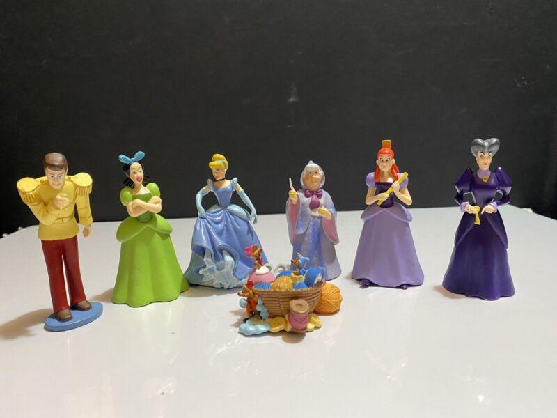Disney Store Cinderella 7 Piece Figurine Play Set Cake Toppers Complete Set