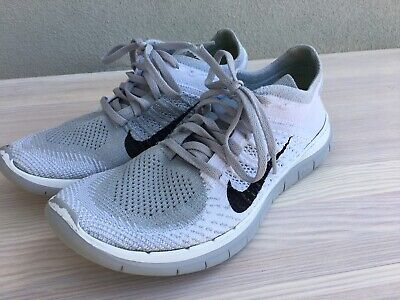 Women's Nike Free 4.0 Flyknit Running Shoes Size 9 Grey/White