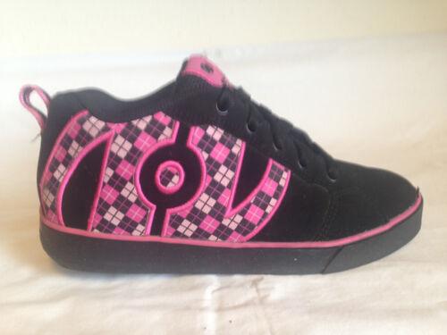 Rare Heelys 7594 Unisex Black Pink Argyle Skate Shoes Size Boys 5 & Girls 6 F8(5
