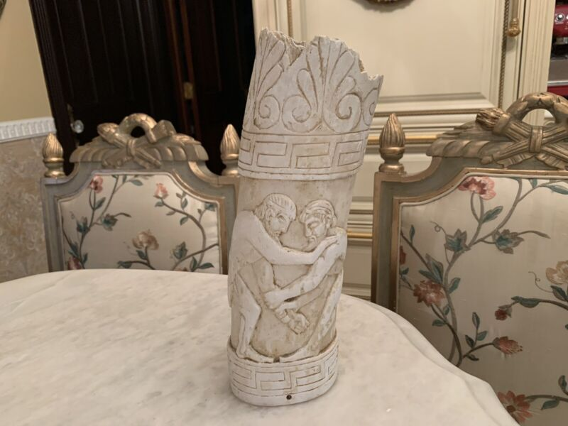 Antique bone Stunning Greek Tusk Statue. One Of The Kind Conversation Piece.