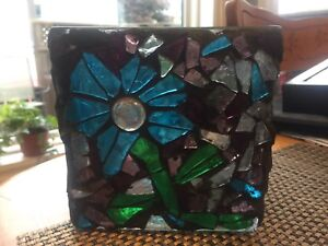 Homemade Glass on Glass Mosaic Candle Holder!!!