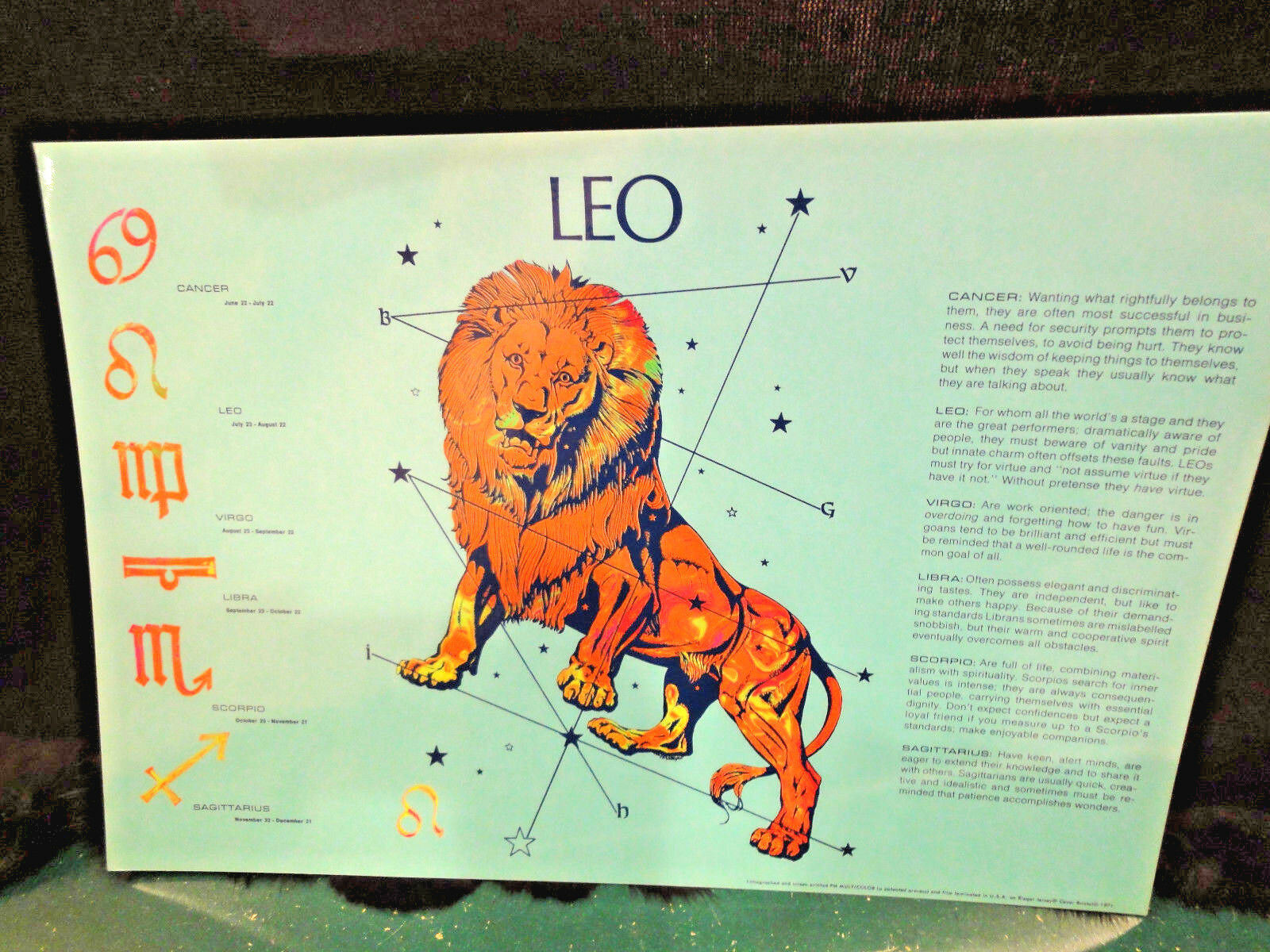LEO Zodiac Astrology Print, Laminated, 11 X 16 , Blue Background - $3.50