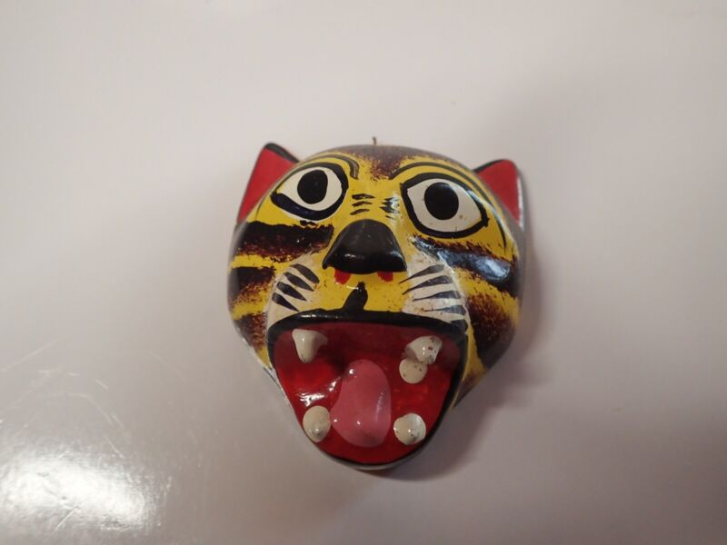 """Hand Carved Painted Small Wooden Mask - Cat Tiger Mask 2.75"""" x 3"""""""