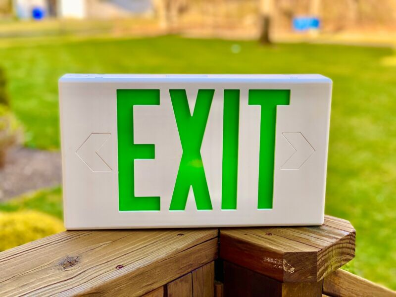 Green exit sign With Test Button