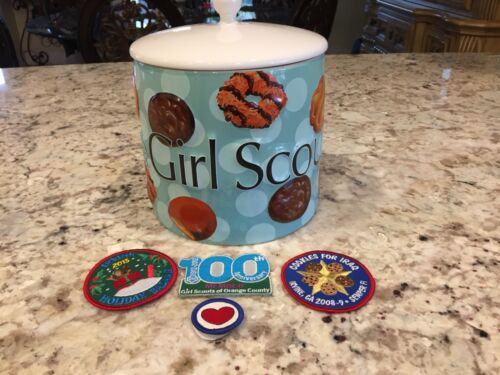 2006 I Love Girl Scout Cookies Cookie Jar Large HEAVY DUTY Seal + Bonus Patches