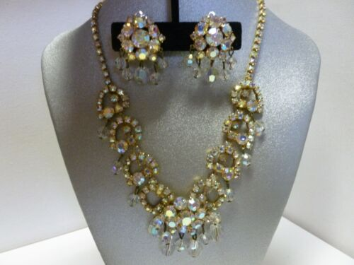 Vintage Gold Tone AB Rhinestone Dangling Crystal Necklace & Clip on Earrings
