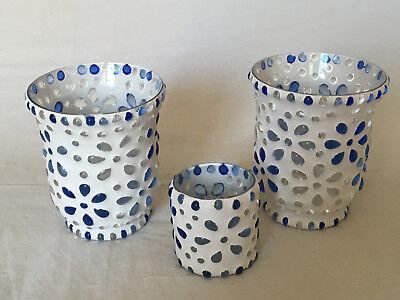 Dekoration 3 wunderschöne schwere Gläser für z.B. Teelicht weiß blaue Steinchen