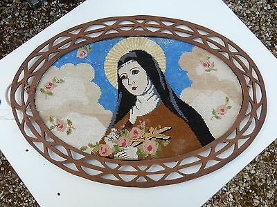 ART DECO  NAIVE   LARGE TAPESTRY OF THE VIRGIN MARY IN RUSTIC  FRAME sampler