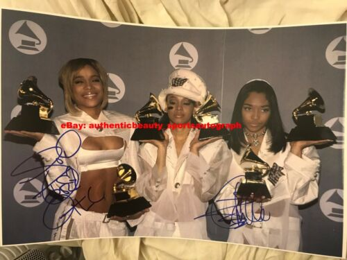 TLC CHILLI+T-BOZ+LEFT EYE HIPHOP RAP GRAMMY WINNER MUSIC SIGNED 12x18 REPRINT RP