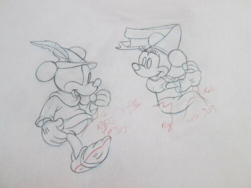 Mickey Mouse & Minnie Brave Little Tailor 1938 Disney cel Drawing
