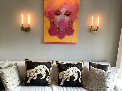 """Pair Of 2-large Custom Made Versace Lion  Pillows 28""""28"""" Upholstery Fabric"""